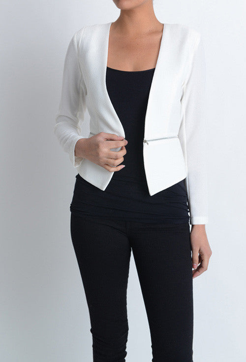 Zipper Detachable Cardigan Blazer Black White