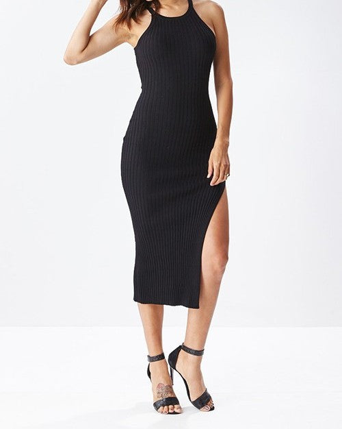Ribbed Bodycon Dress Black
