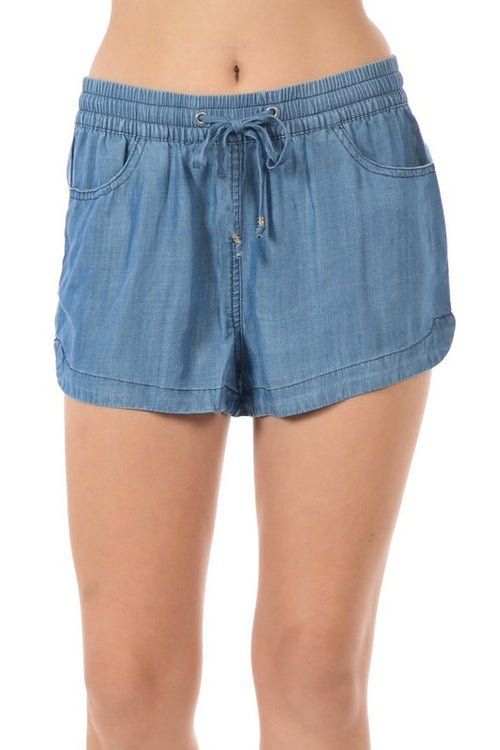 Tencel Drawstring Short Denim