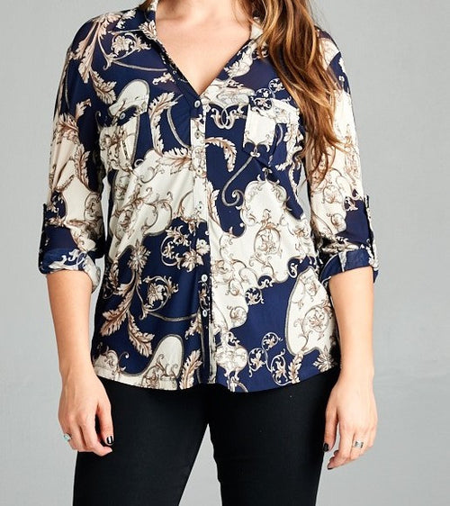 Plus Mesh Grecian Print Button Down Collared Blouse Navy