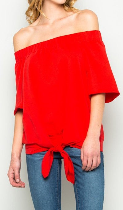 Off Shoulder Front Tie Top Red White