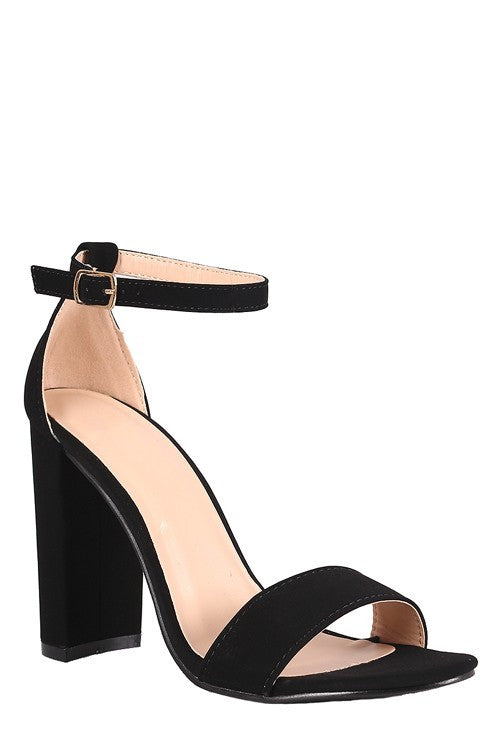 Open Toe Ankle Strap Heel Black