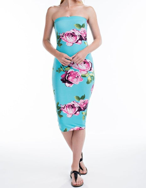 Floral Bodycon Tube Dress Blue