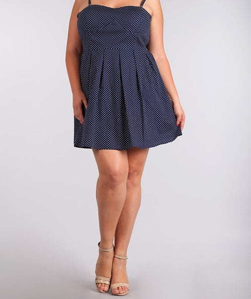 Plus Size Polka Dot Cami Tube Dress Blue