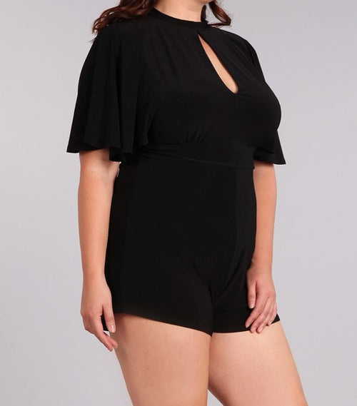 Plus Size Open Back Romper Black Blush