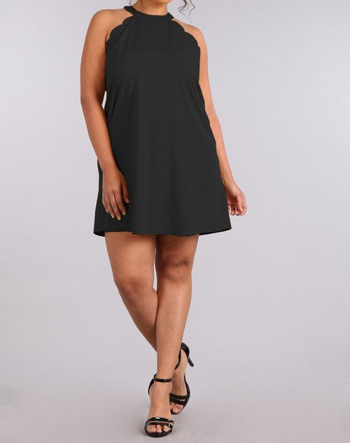 Plus Size Crew Neck A Line Tunic Dress Black Taupe