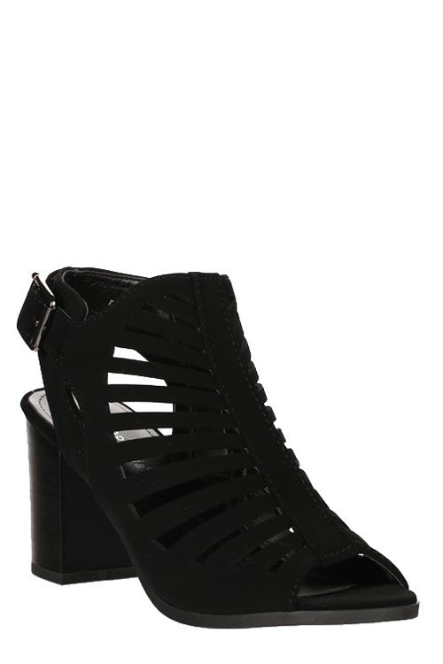 Nubuck Cut Out Heel Black