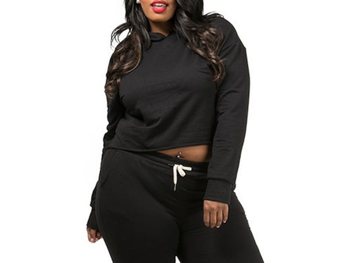 Plus Size Comfy and Cozy Crop Hoodie-Black-Gray