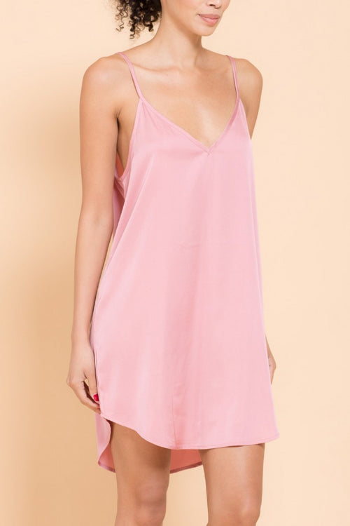 Timeless Satin Cami Dress Black Wine Blush
