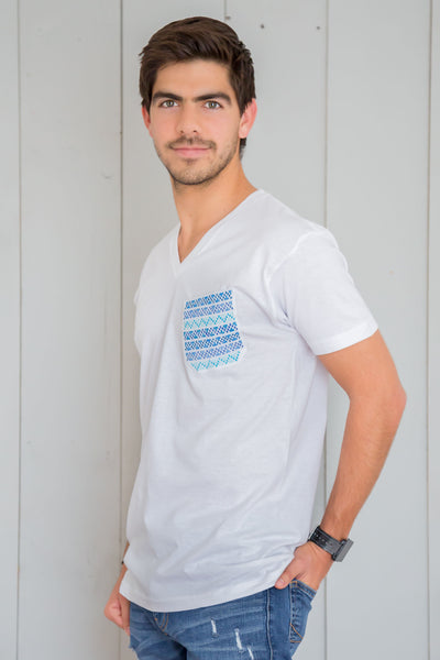 Men Pocket Shirt - White & Blue - handandheart