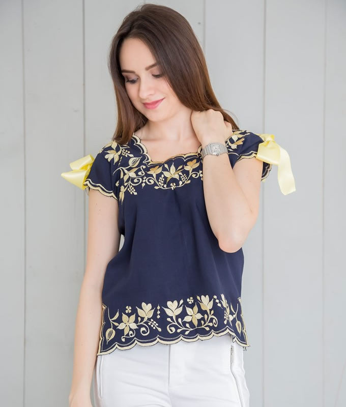 Huipil Blouse - Navy with Corn - handandheart