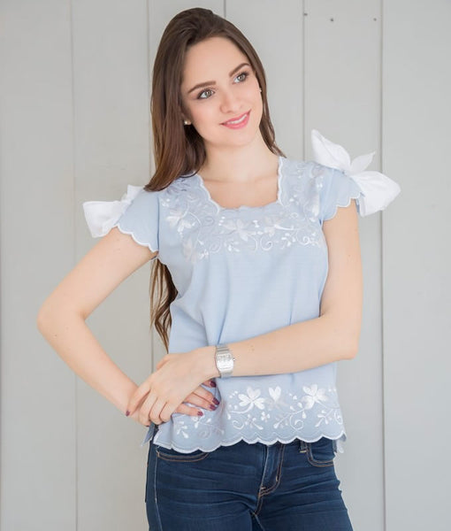 Huipil Blouse - Sky Blue with White - handandheart