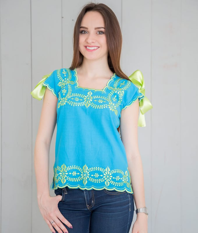 Huipil Blouse - Turquoise with Apple Green - handandheart