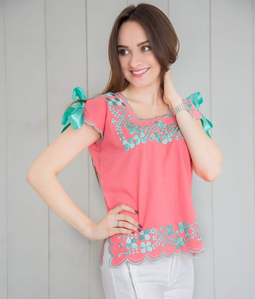 Huipil Blouse - Coral with Green Water - handandheart