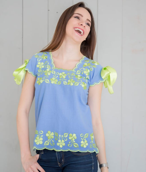Hipil Blouse - Blue France with Apple Green - handandheart