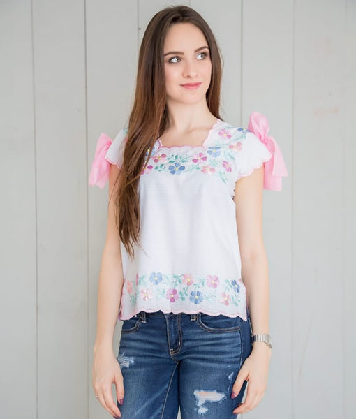Huipil Blouse - White with Pastel Colors - handandheart