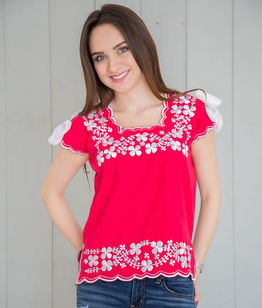 Huipil Blouse - Red with White - handandheart