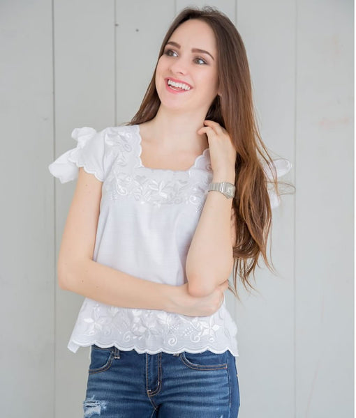 Huipil Blouse - White with White - handandheart