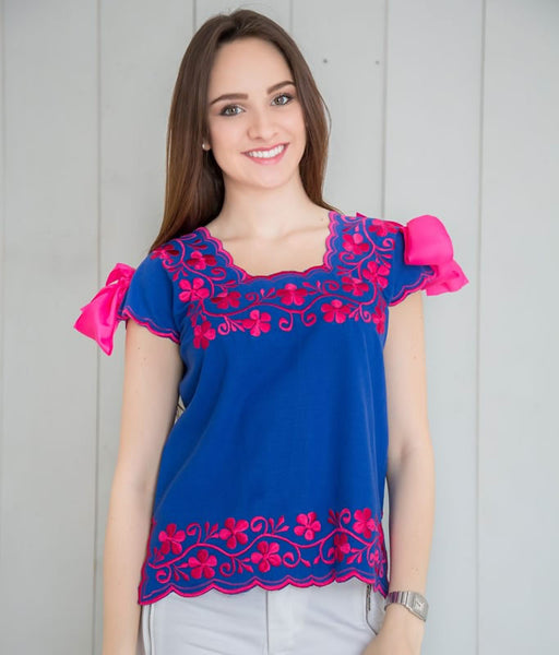 Hipil Blouse - Blue King with Fuchsia - handandheart
