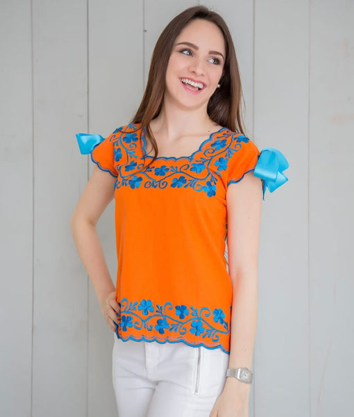 Huipil Blouse - Orange with Blue King - handandheart