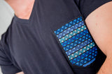 Men Pocket Shirt - Black & Blue - handandheart
