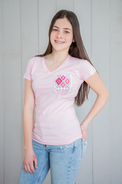 Women pocket shirt pink & pink - handandheart