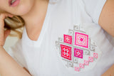 Women Pocket Shirt - Withe & Pink - handandheart