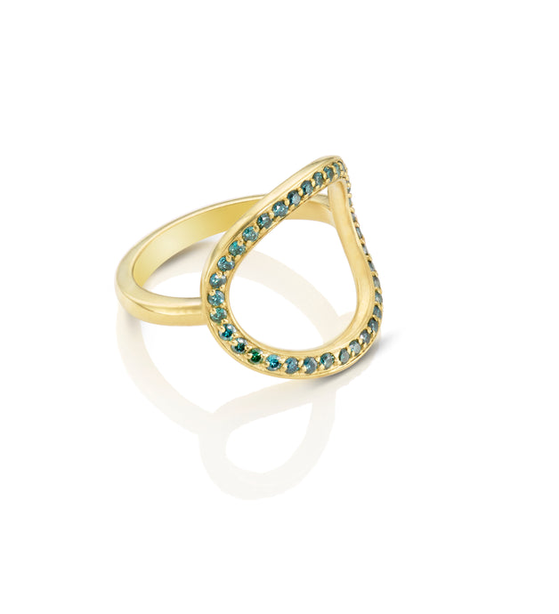 Blue Diamond Circle Ring