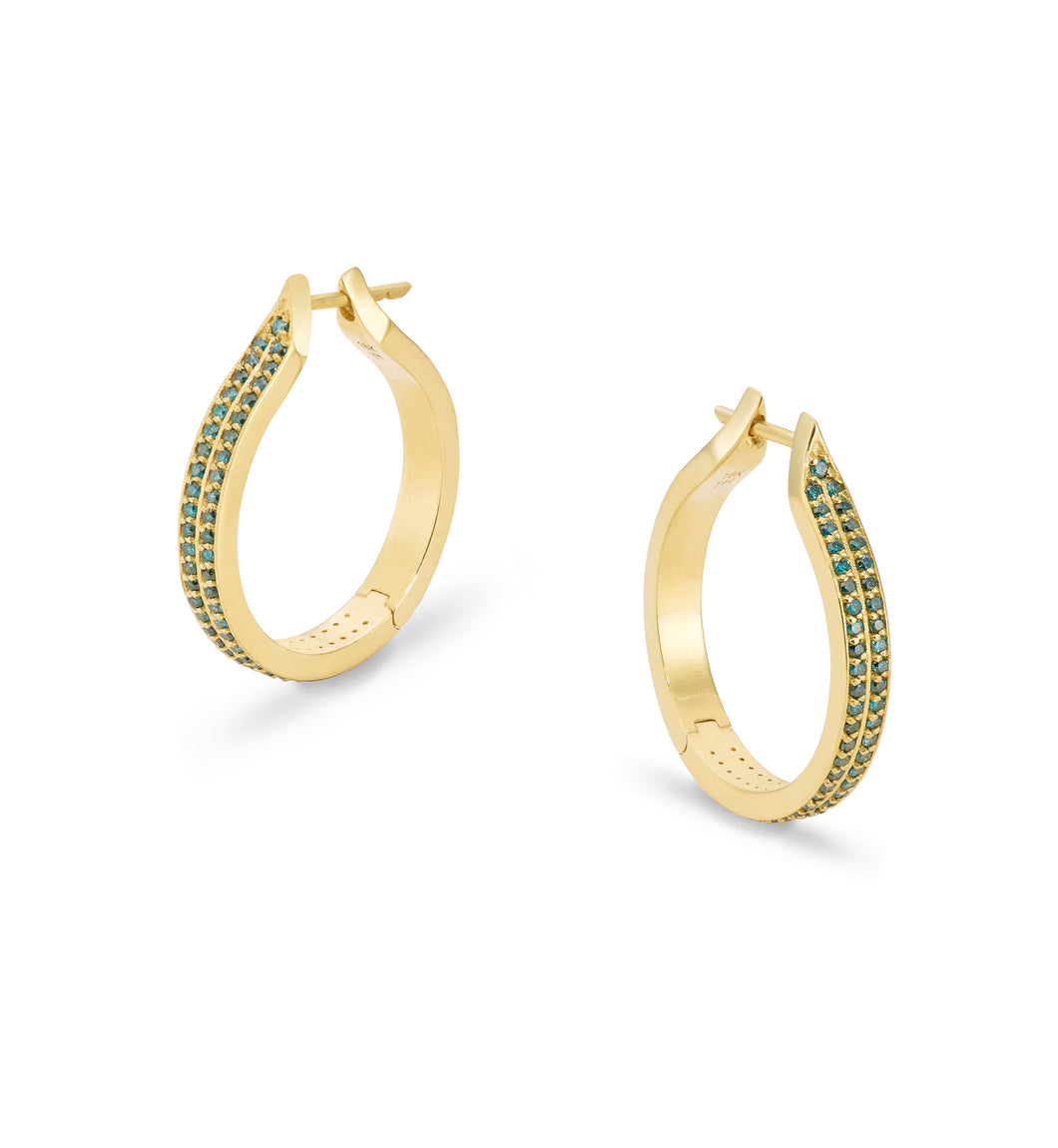 Blue Diamond Goddess Hoops