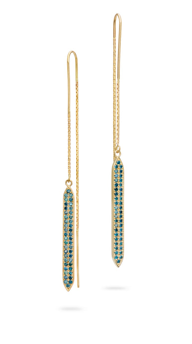 Blue Diamond Goddess Threader Earrings
