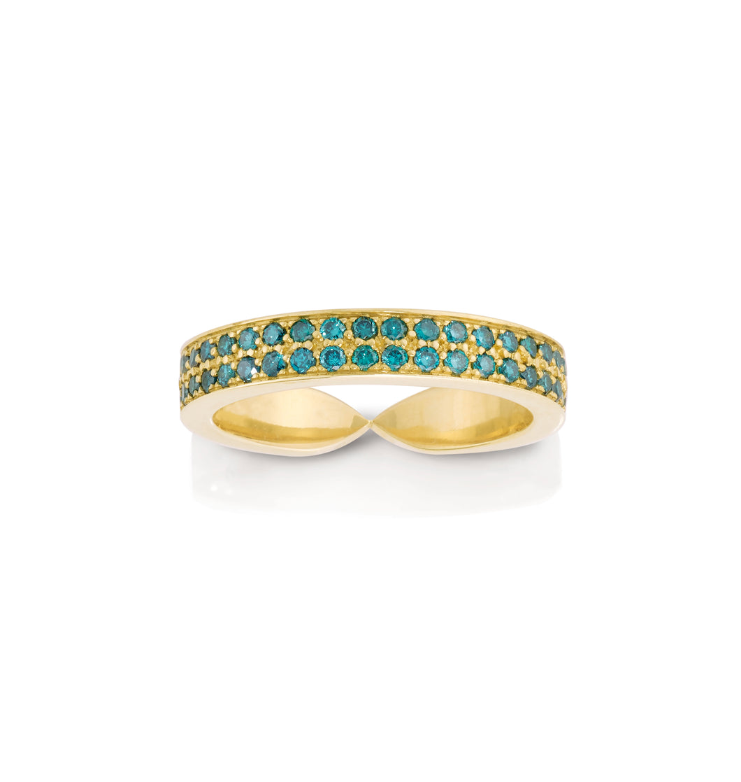 Double Blue Diamond Goddess Wrap Ring
