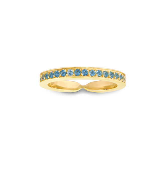 Narrow Single Row Blue Diamond Goddess Wrap Ring