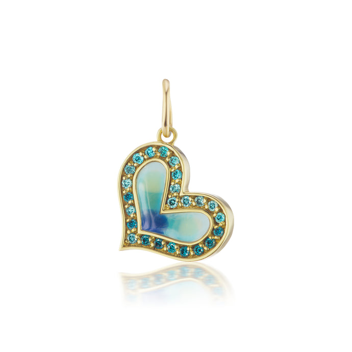 Blue Diamond Surf Heart Charm