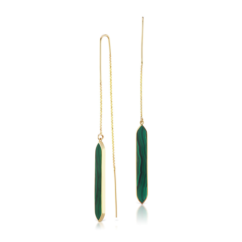 Malachite Goddess Threader Earrings