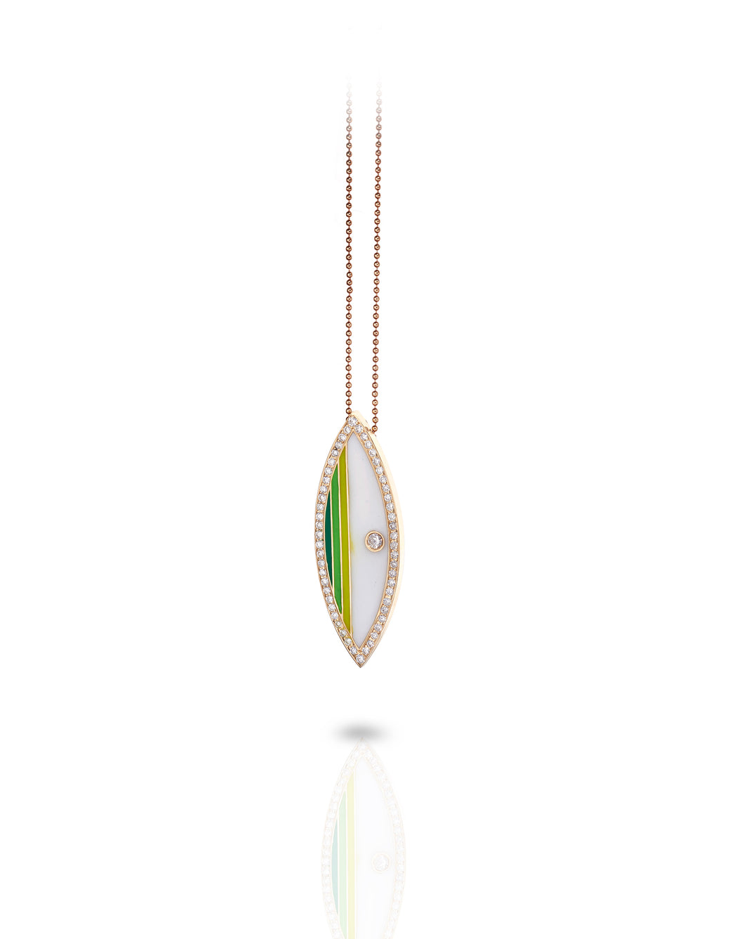 Diamond Marquise Board Necklace (greens)