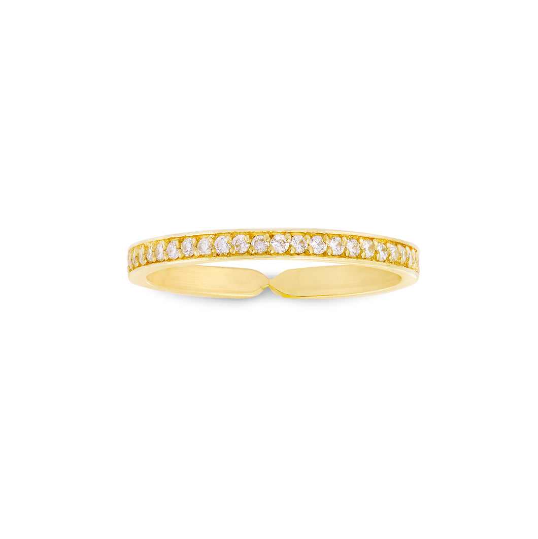 Narrow Single Row Diamond Goddess Wrap Ring