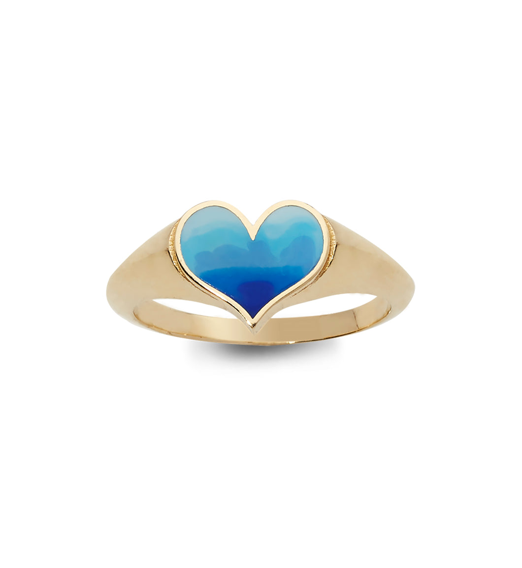 Ombre Surf Heart Ring