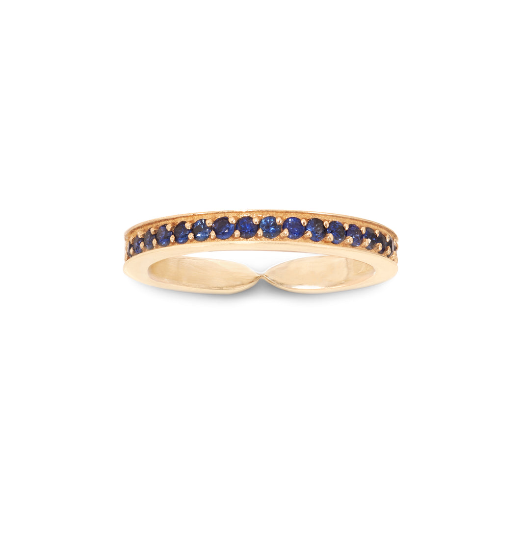Narrow Single Row Blue Sapphire Goddess Wrap Ring