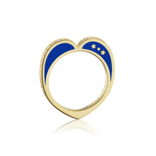 Diamond Open Heart Ring, Navy