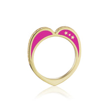 Diamond Open Heart Ring, Pink