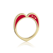 Diamond Open Heart Ring, Red
