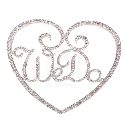 We Do in a Heart Rhinestone Cake Topper