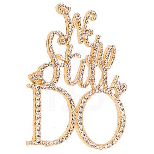 We Still Do Gold Rhinestone Cake Topper