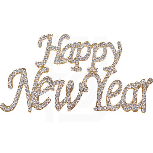 Happy New Year Rhinestone Cake Topper