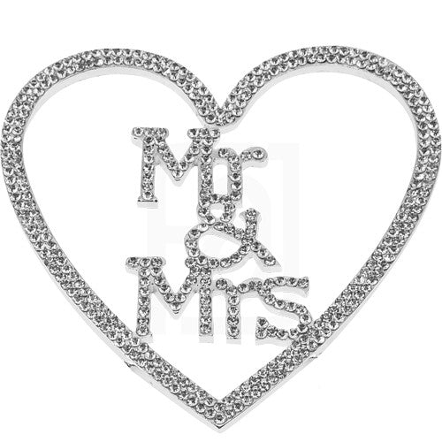 Mr. and Mrs. Rhinestone Cake Topper - Inside a Heart