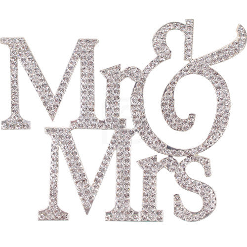 Mr & Mrs Silver Large Rhinestone Cake Topper