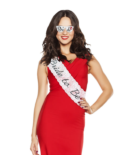 Bride to Be Bachelorette Sash and glasses (Black)