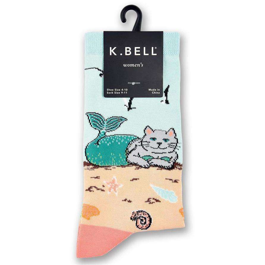 BAMSocks.com - Premium Luxury Socks Novelty Socks Women's Mermaid Cat Crew Socks - K. Bell