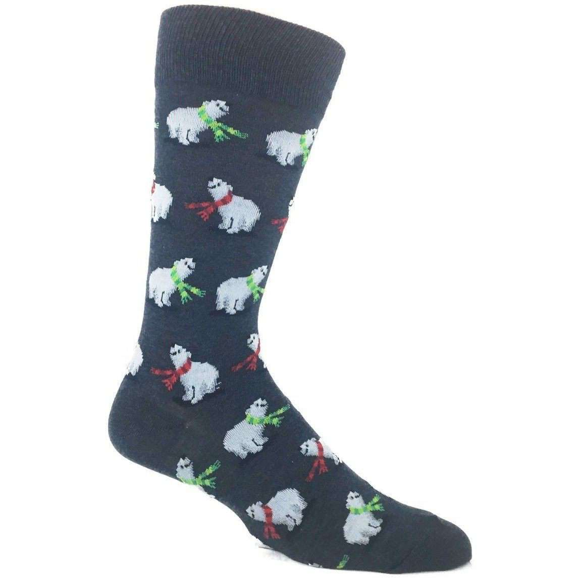 Hot Sox Holiday Socks Men 6.5 - 12 Polar Bears Christmas Socks - Men's Socks by Hot Sox