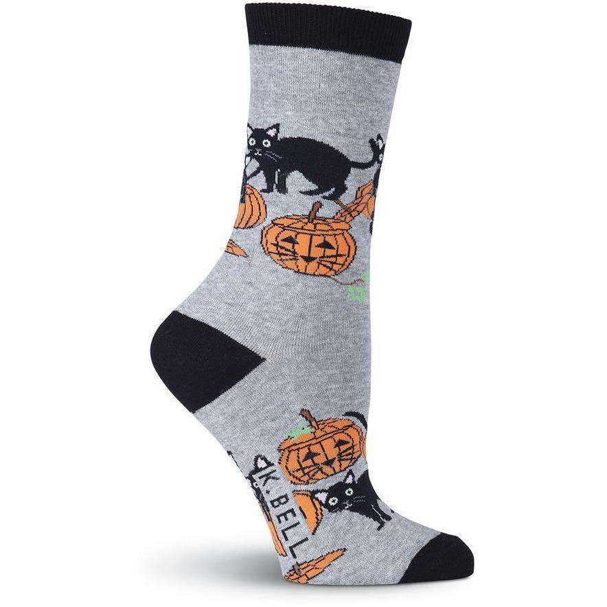 Women's Cats and Pumpkins Crew Socks, Gray Heather